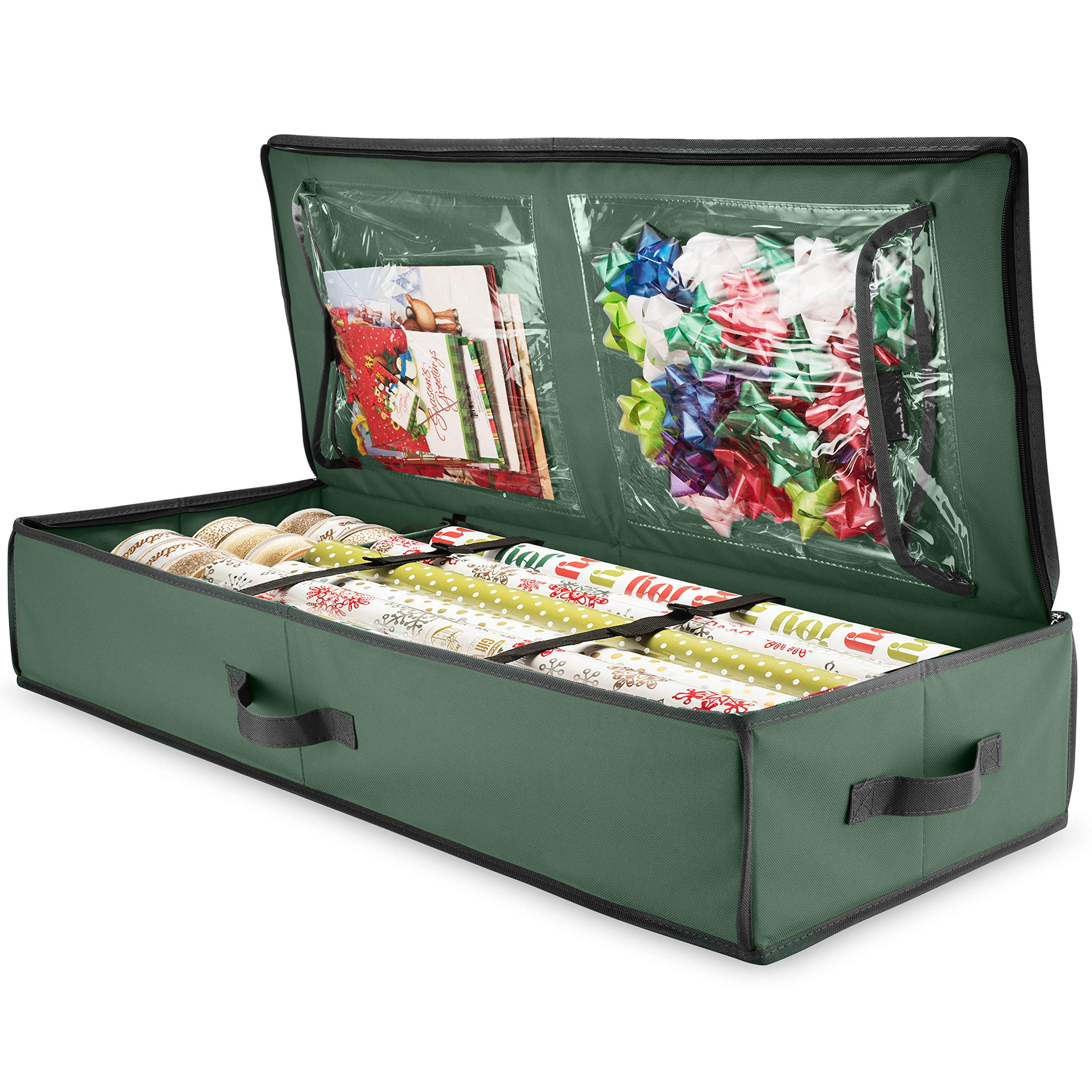 ZOBER Premium Wrap Organizer, Interior Pockets, fits 18-24 Standers Rolls, Underbed Storage, Wrapping Paper Storage Box and Holiday Accessories, 40'' Long - Tear Proof Fabric - 5 Year Warranty by ZOBER