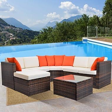 LZ LEISURE ZONE 5-Piece Patio Furniture Set OutdoorWicker Sofa Sectional Conversation Set with Cushions (Beige Cushion)