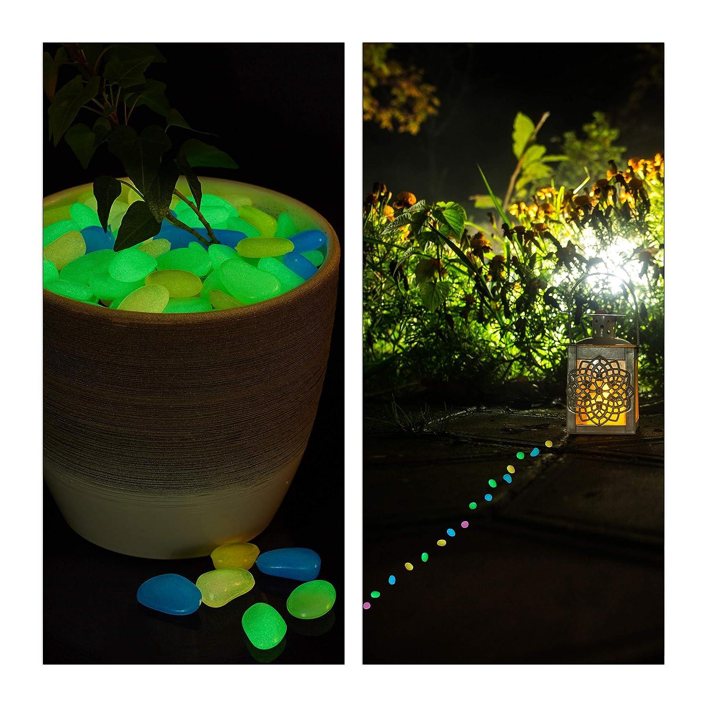Vasi Aquario 200 Pezzi Nottilucenti Relaxdays Pietre Fluorescenti Blu Ciottoli Luminosi da Giardino
