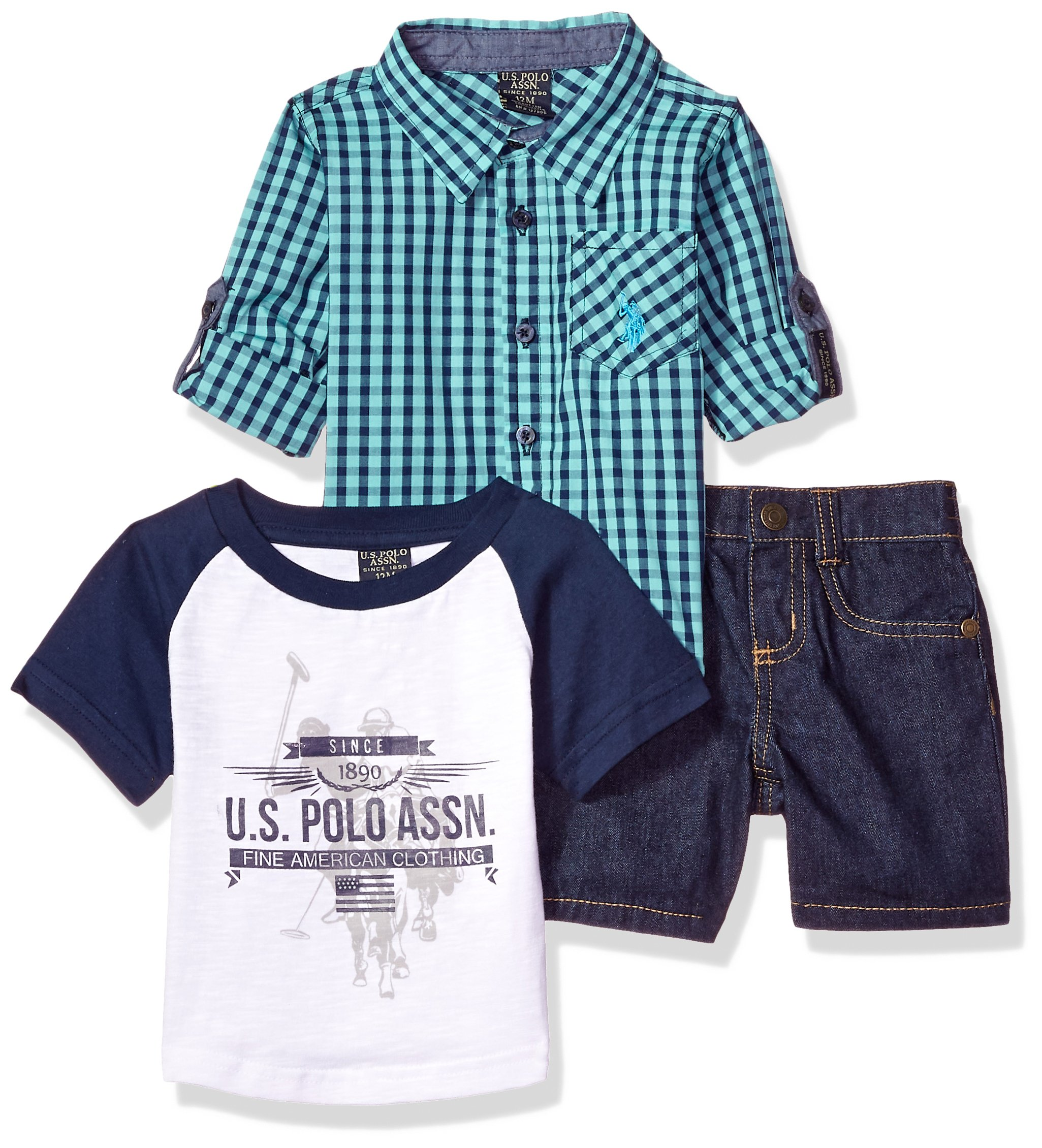 U.S. Polo Assn.. Baby Boys Long Sleeve Woven Shirt, T-Shirt and Short Set, Printed Fine American Clothing Multi Plaid, 12M by U.S. Polo Assn. (Image #1)