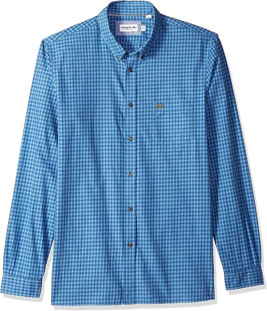 Lacoste Hombre CH1468-51 Manga Larga Camisa de Botones - Azul - Medium/Large: Amazon.es: Ropa y accesorios