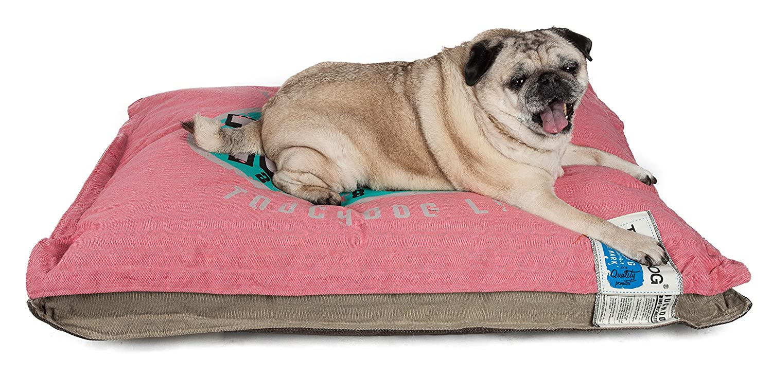 TOUCHDOG'Shock -Stitched 'Sporty Reversable Rectangable Ultra -Thick Pet Bed Mat, Large, Pink Light, Mocha Brown