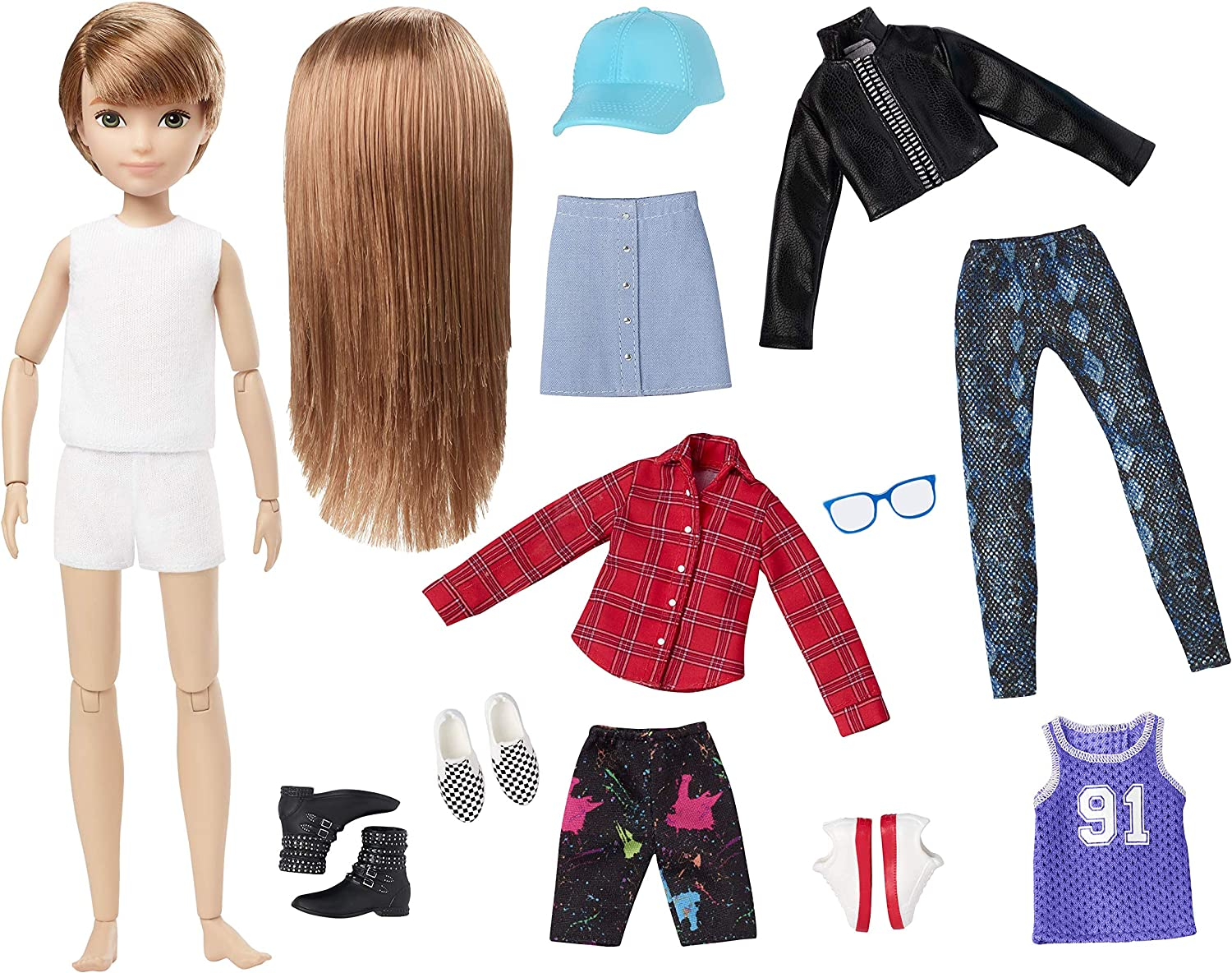 Creatable World Nude Doll Customization Replacement Curly Brown Hair Brown Eye