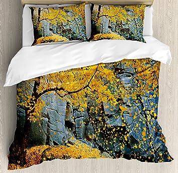 Blätter Bettbezug Set By Ambesonne Kanadischen Ahorn Falling Leaves