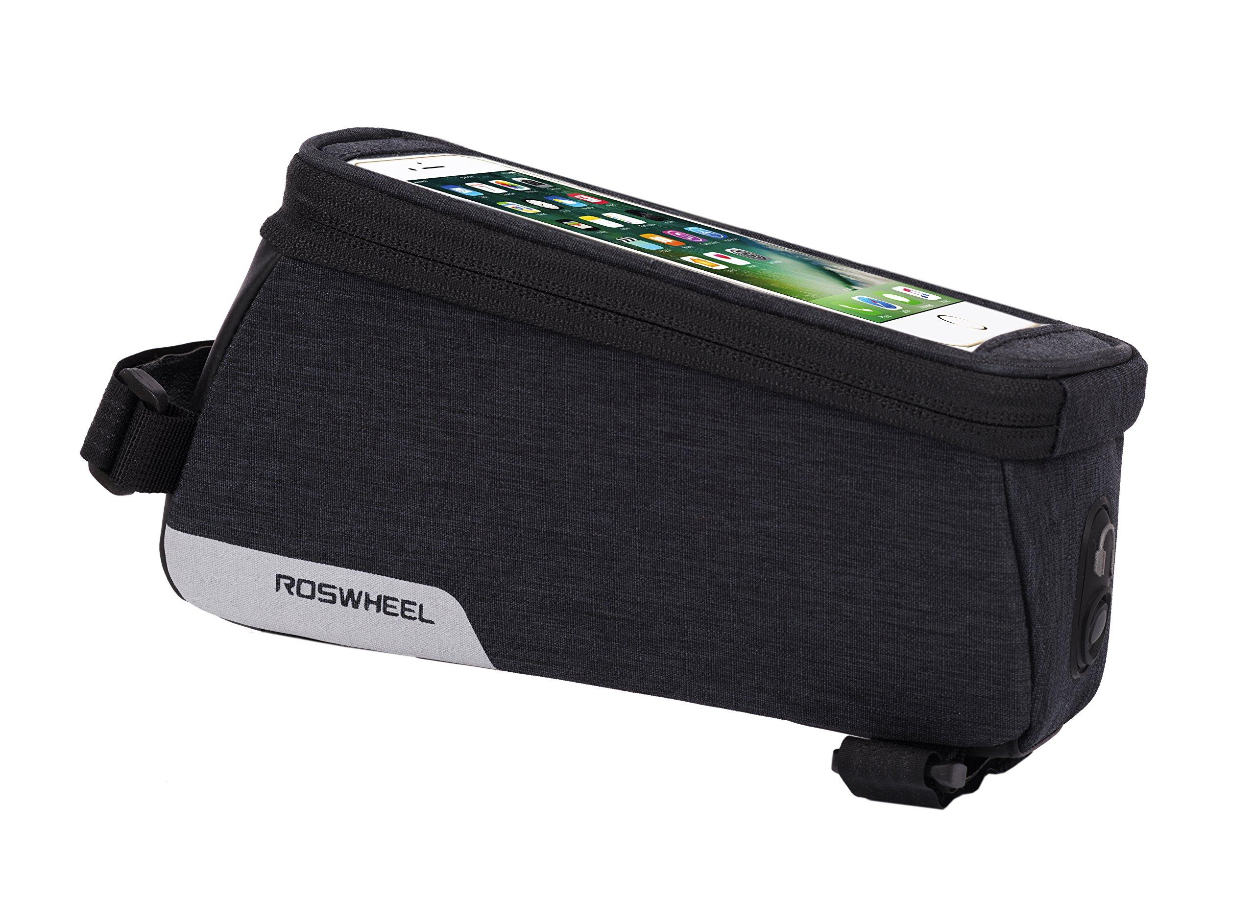 Roswheel 121460 Essentials Series Bike Top Tube Pannier Bicycle Frame Phone Bag, Black