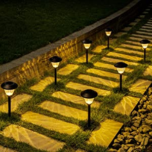 Solpex Solar Path Lights 6 Pack, Solar Powered Garden Lights, Automatic Glass Metal Waterproof Solar Walkway Lights for Landscape, Lawn, Pathway, Walkway and Driveway(Warm White)