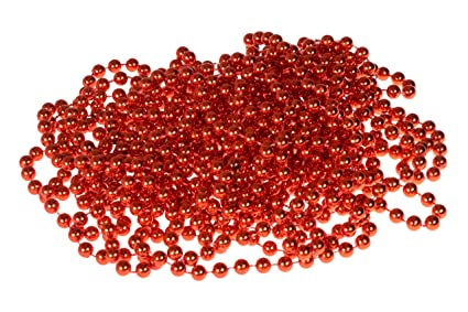 bead style christmas garland by clever creations shiny 7mm red shatterproof bead garland classic - Christmas Bead Garland