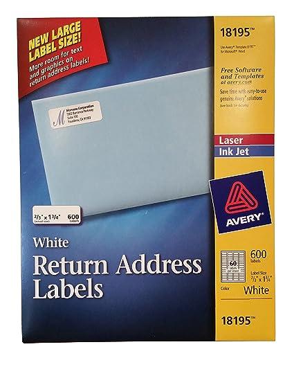 amazon com avery white return address labels 600 laser ink jet