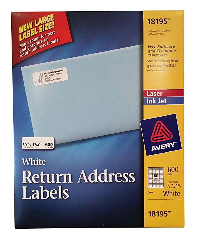 amazoncom avery white return address labels 600 laser ink jet 23 x 1 34 18195 office products