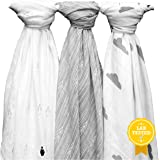 """Soft & Breathable Muslin Swaddle Blankets, Penguins/Arrows/Clouds, Unisex White & Grey Designs, 47""""x47"""", The Timeless Newborn Gift by Yelo Pomelo"""