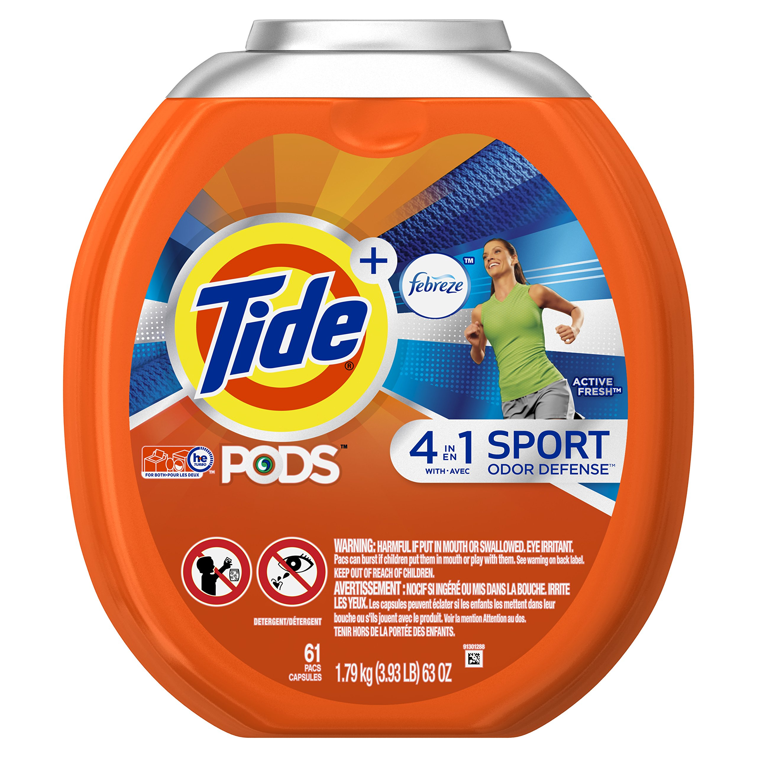 Tide PODS Plus Febreze Sport Odor Defense 4 in 1 HE Turbo Laundry Detergent Pacs,