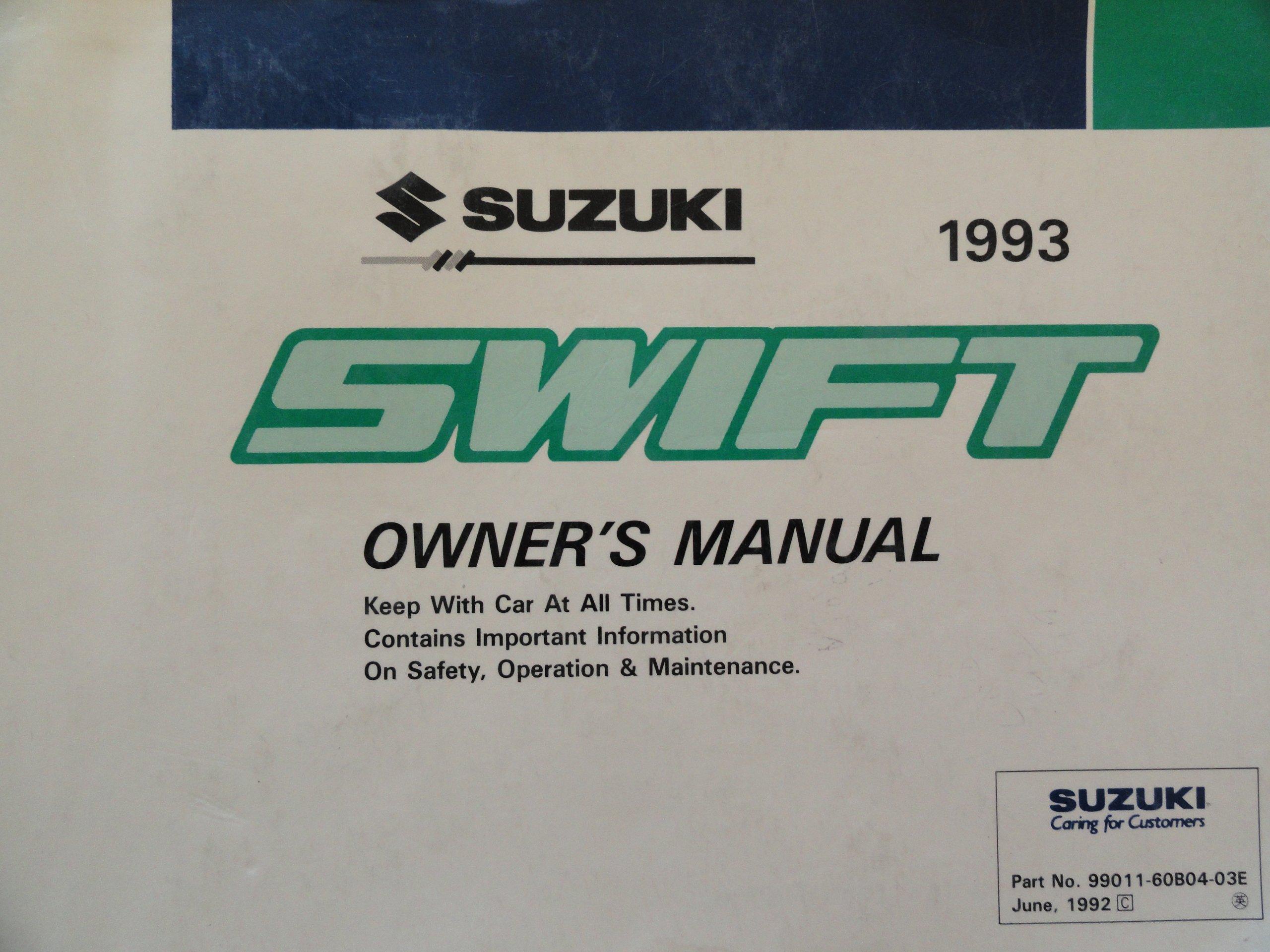 original 1993 suzuki swift owners manual suzuki amazon com books rh amazon com 1990 Suzuki Swift 1990 Suzuki Swift