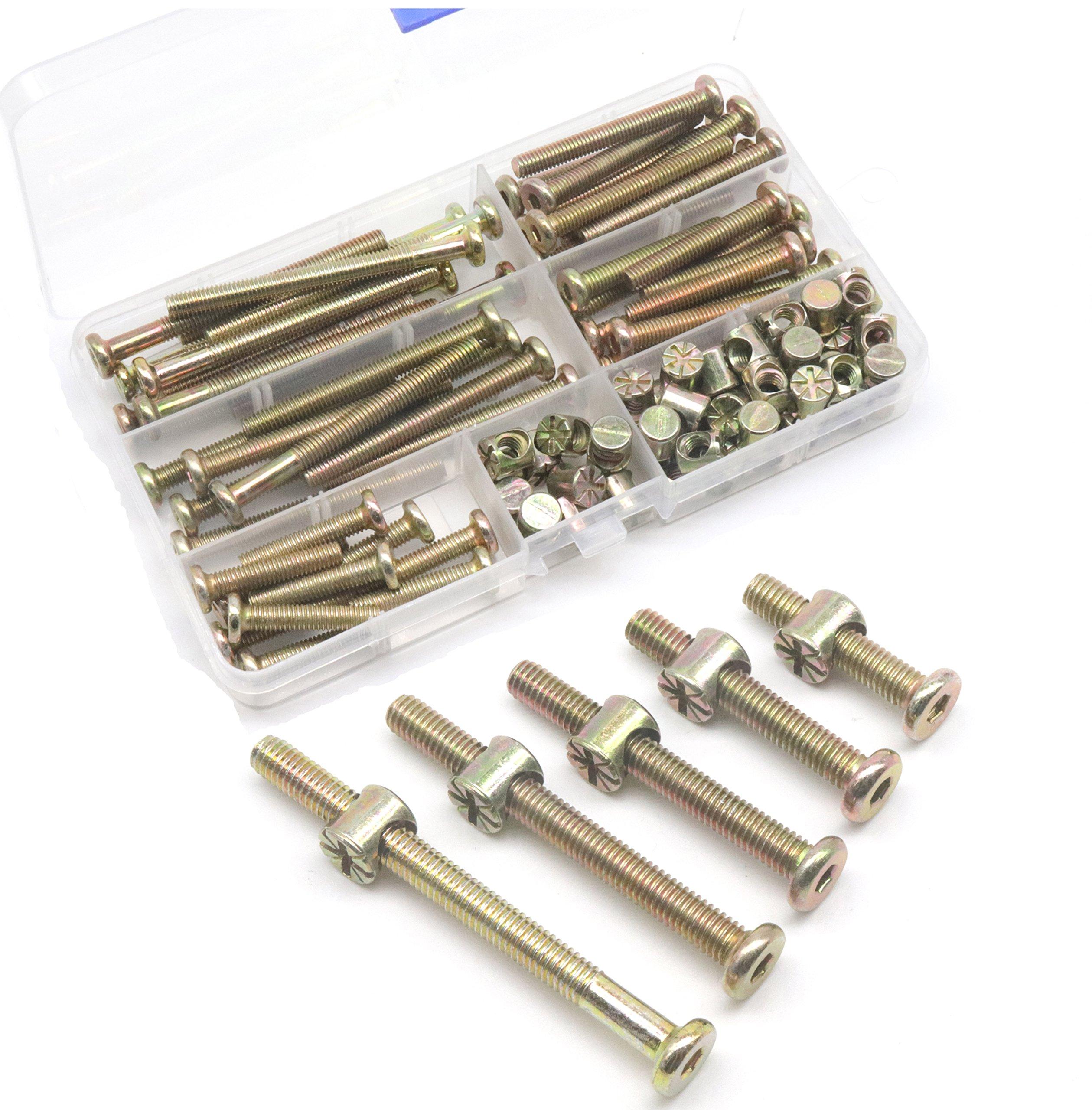 M6 Crib Screws Hardware Replacement Parts, cSeao 50-Set M6 Hex Drive Socket Cap Bunk Bed Bolts Barrel Nuts Assortment Kit, M6 x 30mm/40mm/50mm/60mm/70mm, Zinc Plated