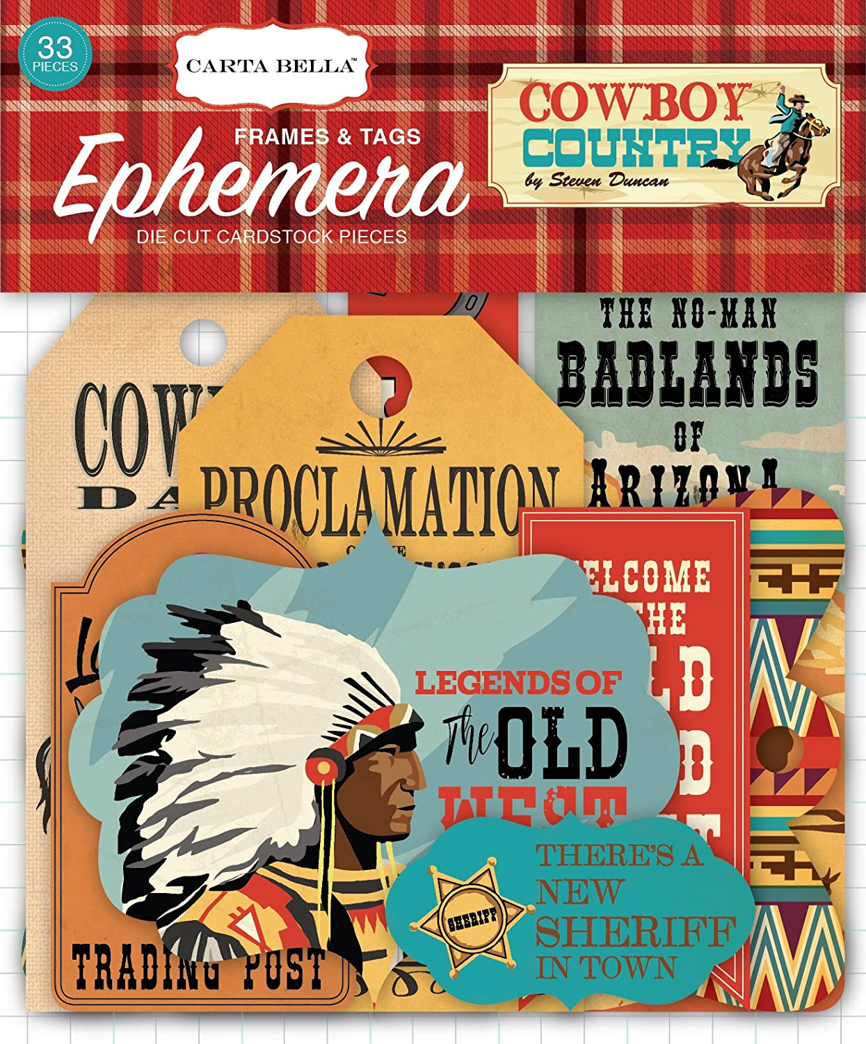 Echo Park Stickers Steven Duncan Cowboy Country 12x12 Collection Kit Papers