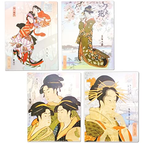 Amazon.com : Plastic Sleeve, Ukiyo-e Bijinga Japanese art Set Of 4 In Assorted Designs Wonderful Japan : Office Products