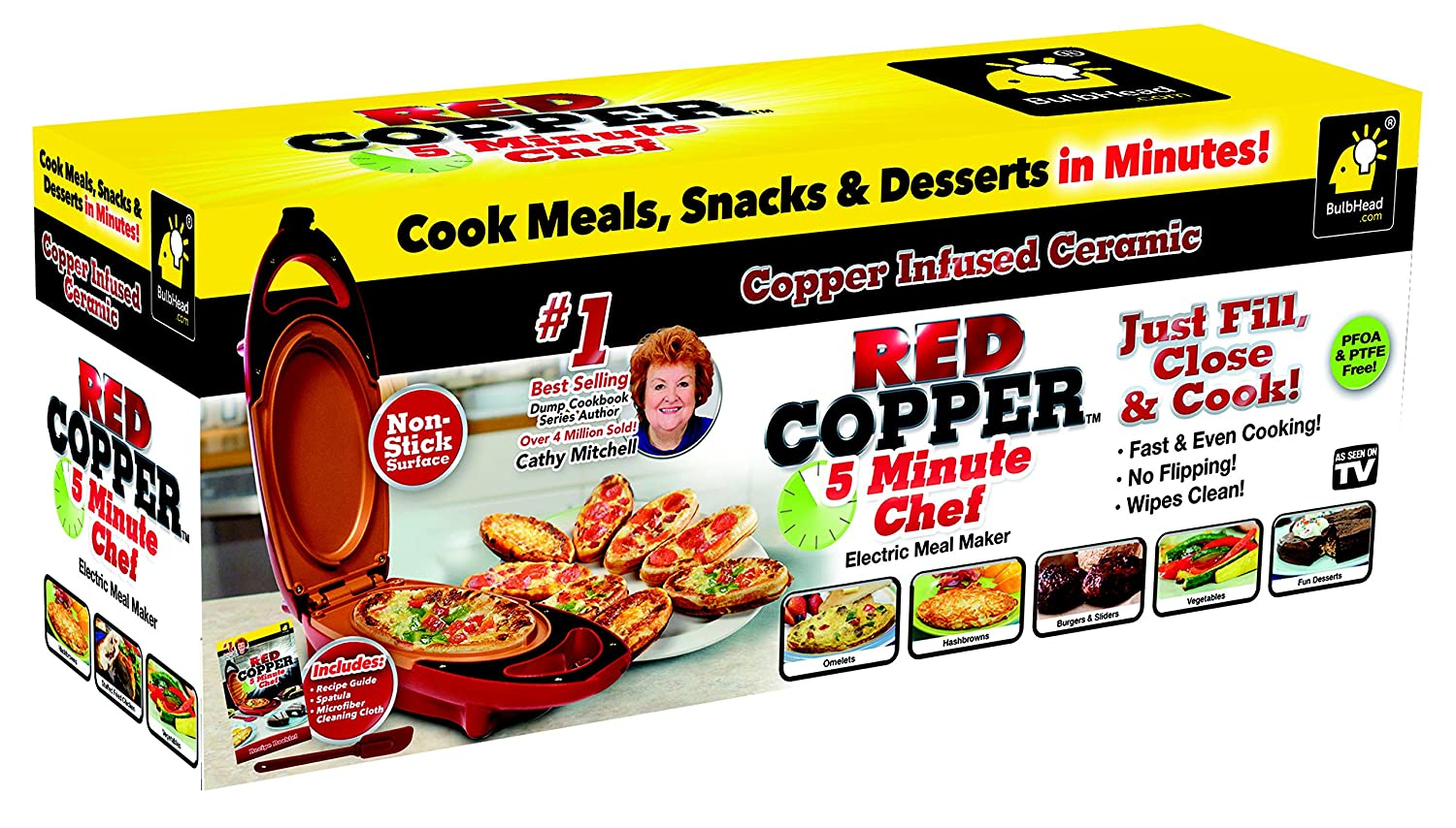 Amazon Com Red Copper Double Coated 5 Minute Chef Electric Cooker