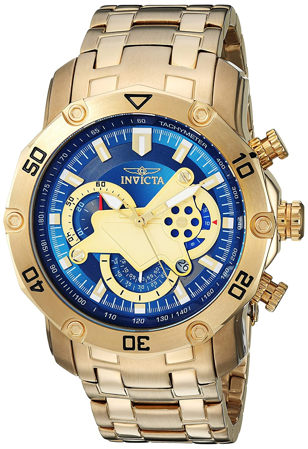 Invicta Men s Pro Diver Quartz Watch with Stainless-Steel Strap, Gold, 26 Model 22765