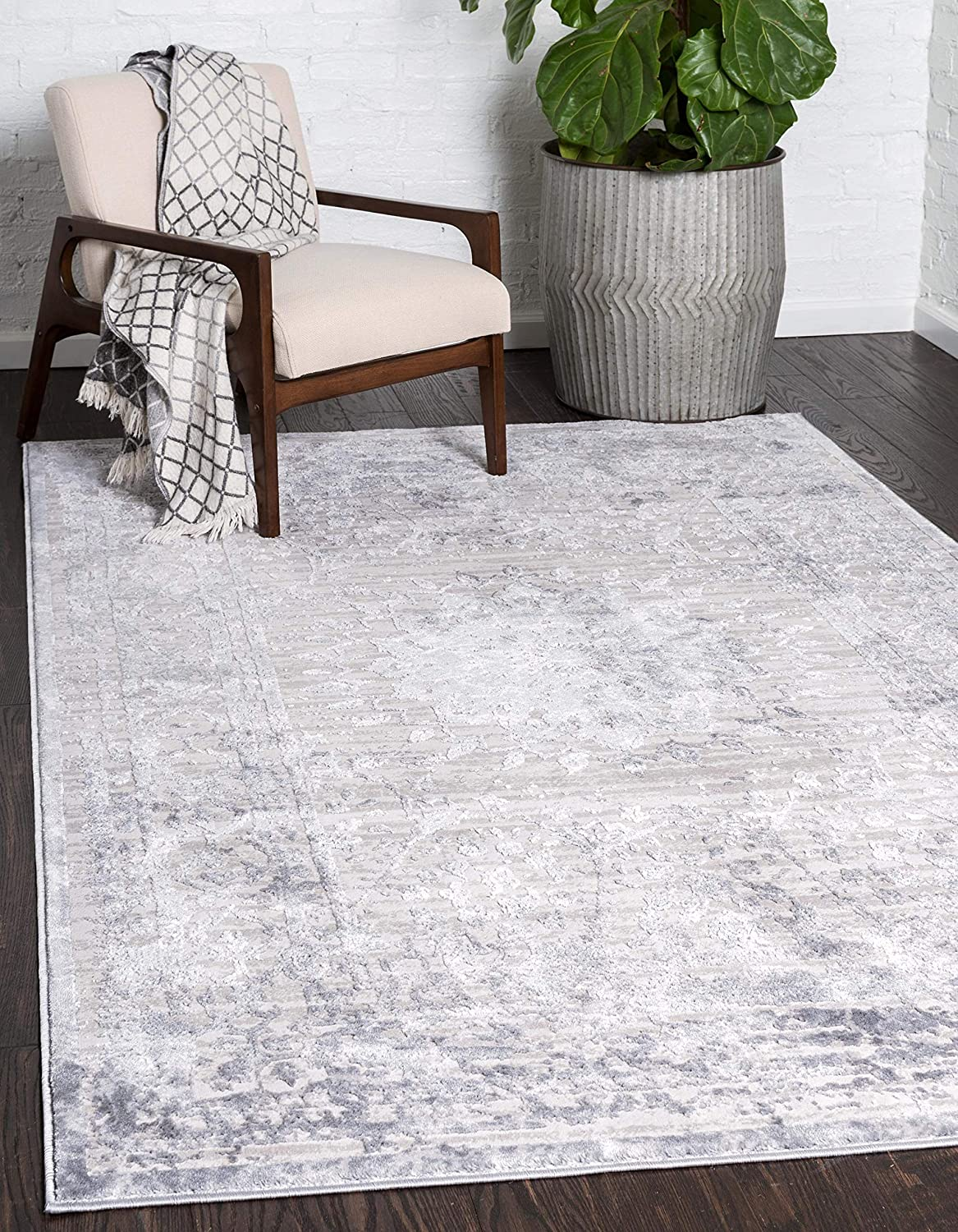 Unique Loom Aberdeen Collection Textured Traditional Vintage Tone Area Rug, 9 x 12 Feet, Gray/Ivory