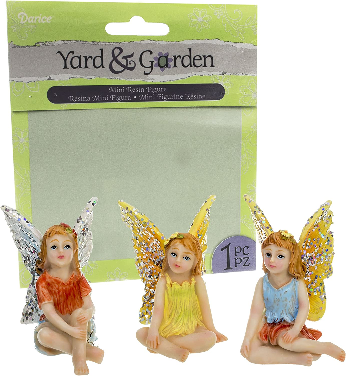 Bundle - Set of 3 Assorted Mini Resin Meditating Fairy Figures 1.75 x 2.25 Inches