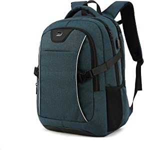Travel Laptop Backpack, Drop Protection Computer Backpacks Durable Hiking Work Business Daypack Water Resistant Schoolbag with USB Charging Port, Gifts for Men Women Boys Girls fits 15.6 Inch Laptops(15.6 Inch, Dark Green)