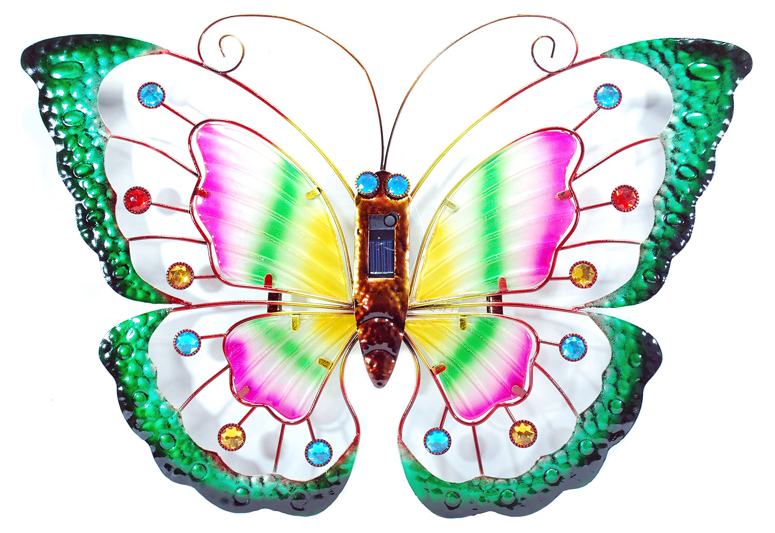 Iron And Glass Solar LED Lighted Butterfly Decoration, Choice of Three Colors (Green)