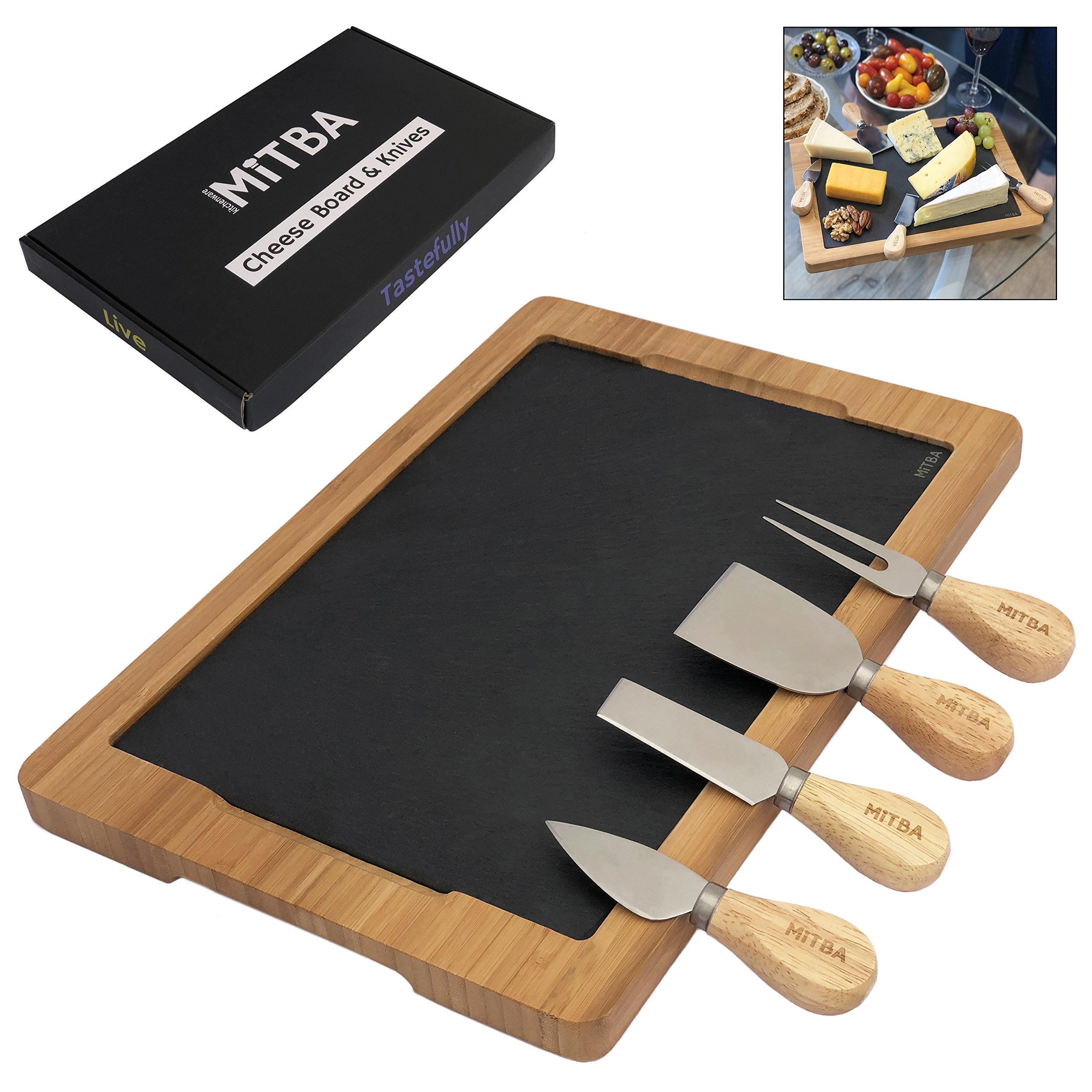 Cheese Board and Cheese Knife Cutlery Set by MiTBA – Cheese & Charcuterie Serving Tray Made of Natural Bamboo and Slate Stone Platters. Perfect Gift for Anniversary, Housewarming & Birthday Parties.