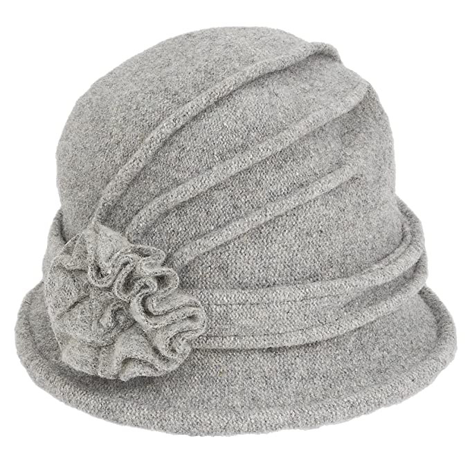 c38a9815cd2 Adora Womens Soft Wool Cloche Bucket Hat with Floral Trim 653 (C. Grey)