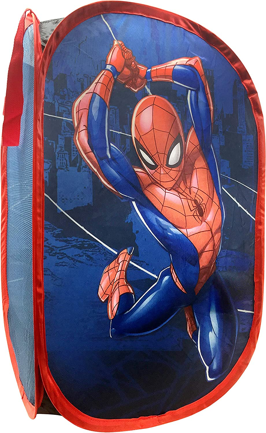 "Jay Franco Marvel Spiderman Web Sling Pop Up Hamper - Mesh Laundry Basket/Bag with Durable Handles, 22"" x 14"" (Official Marvel Product)"