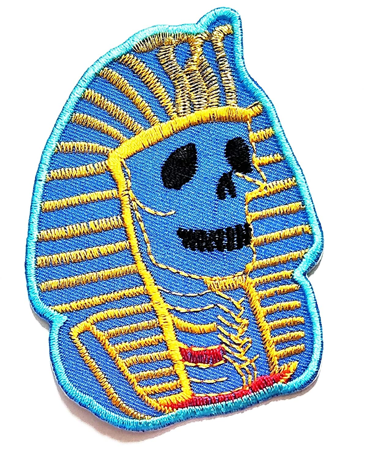 2.6'' X 3.5'' Pyramid Skull Blue Egyptian Style Skull Cartoon Kids Logo Jacket t-Shirt Jeans Polo Patch Iron on Embroidered Logo Sign Badge Comics Cartoon Patch by Tour les jours Shop