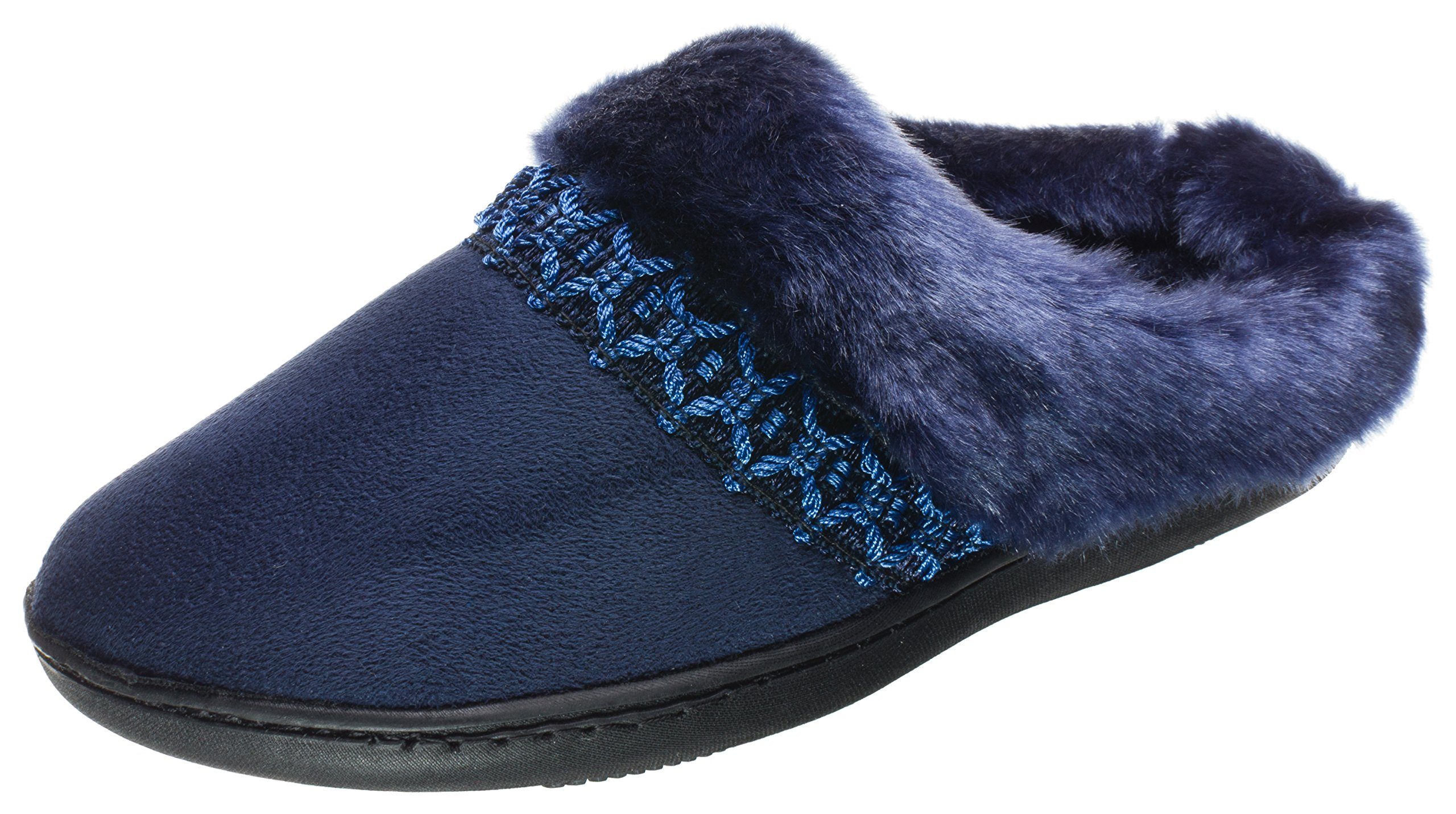 ISOTONER Women's Microsuede Nola Hoodback Navy Blue Medium 7.5-8