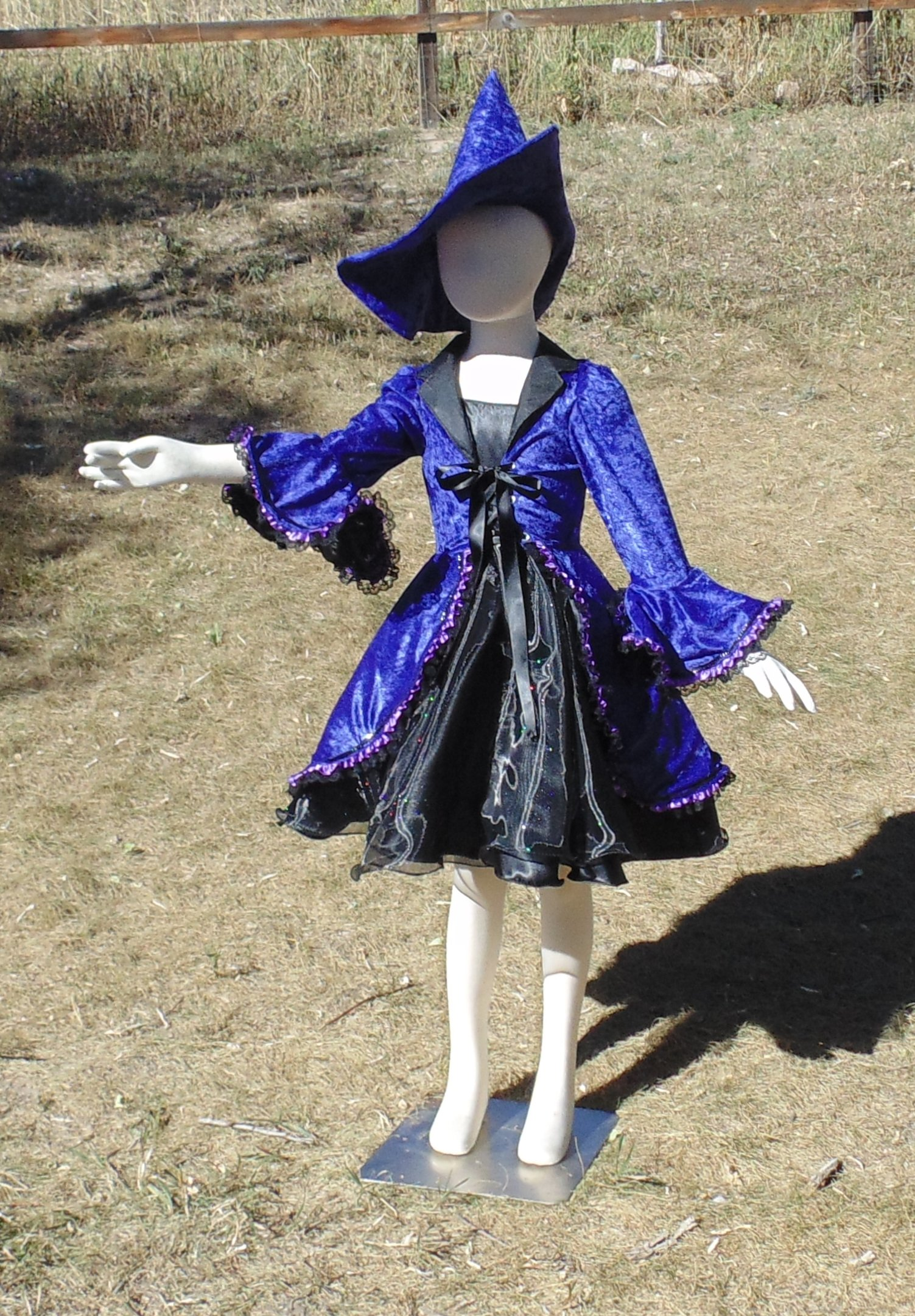 Girls 6-8 4 piece purple Hocus Pocus Witch in crushed velvet by Fru Fru and Feathers Costumes & Gifts