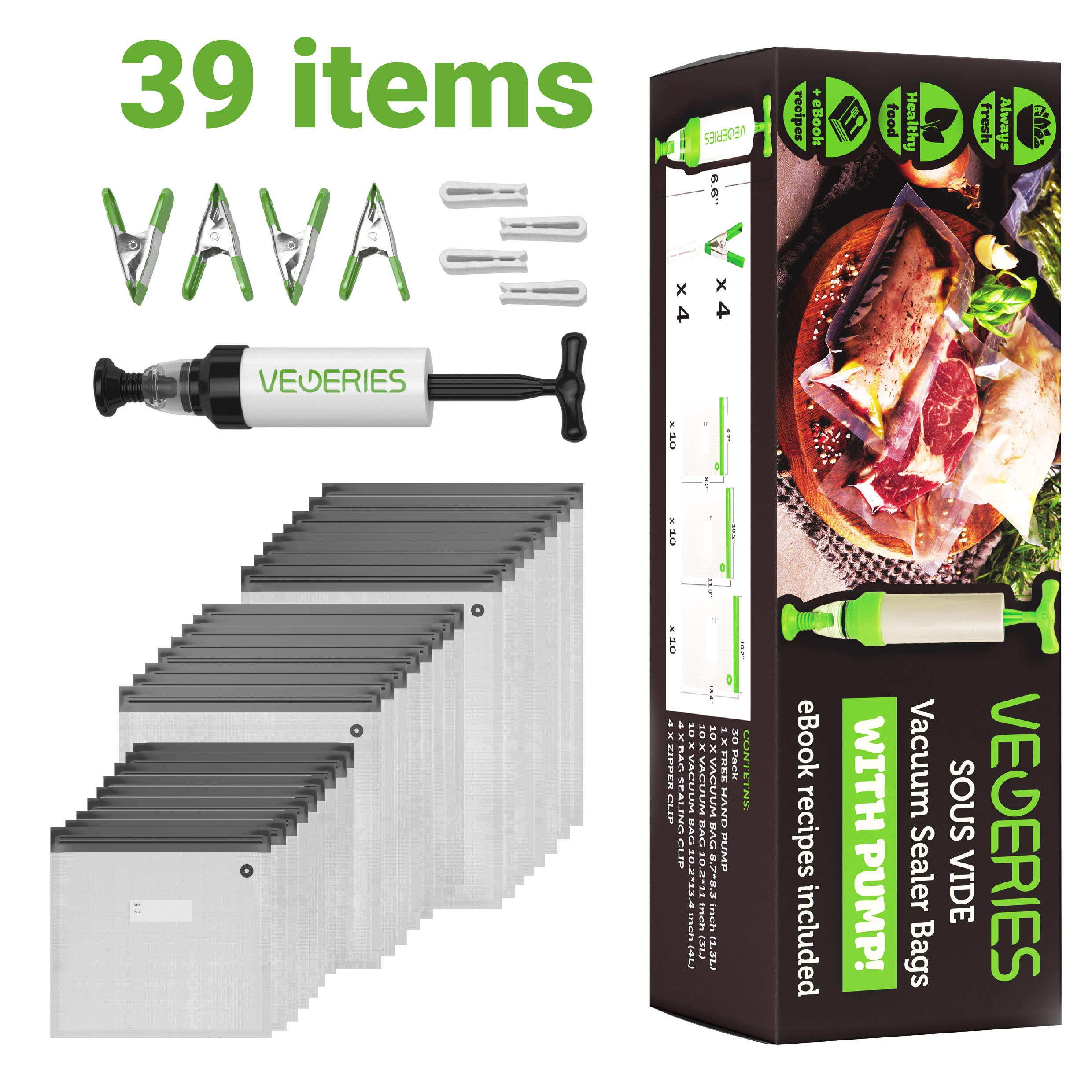 Sous Vide Bags 30 Reusable Vacuum Food Storage Bags for Anova and Joule Cookers - 3 sizes Sous Vide Bag Kit with Pump - 4 Sealing Clips - 4 Sous Vide Bag Clips for Food Storage and Sous Vide Cooking by VEGERIES