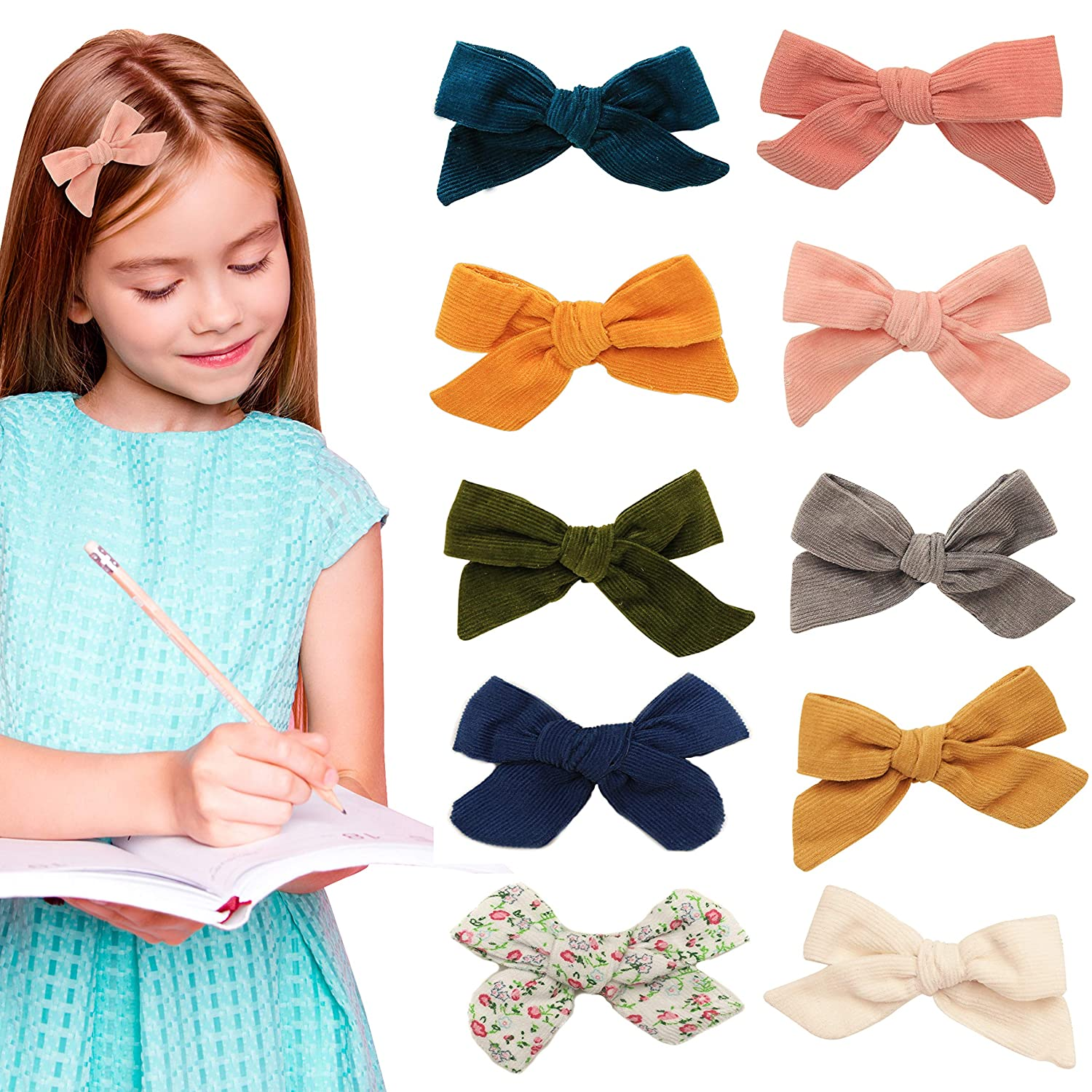 toddler bow clips Cotton Lace bow hair clips hair accessories lace bow clip fringe clips peach lace bows,baby bow clips