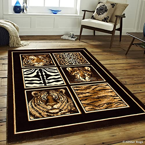 Allstar 5×7 Black Casual Rectangular Accent Rug with Ivory, Mocha and Espresso Graphic Wildlife Patchwork Design 5 2 x 7 1