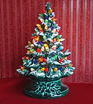 amazoncom 18 ceramic christmas tree with snow home kitchen