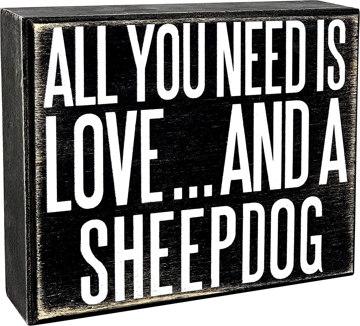 JennyGems - All You Need is Love and a Sheepdog - Wooden Stand Up Box Sign - Sheepdog Gift Series, SheepdogMoms, Sheepdog Lovers, Sheepdog Decor, Sheepdog Sign, Sheepdog Gift, Shelf Knick Knacks