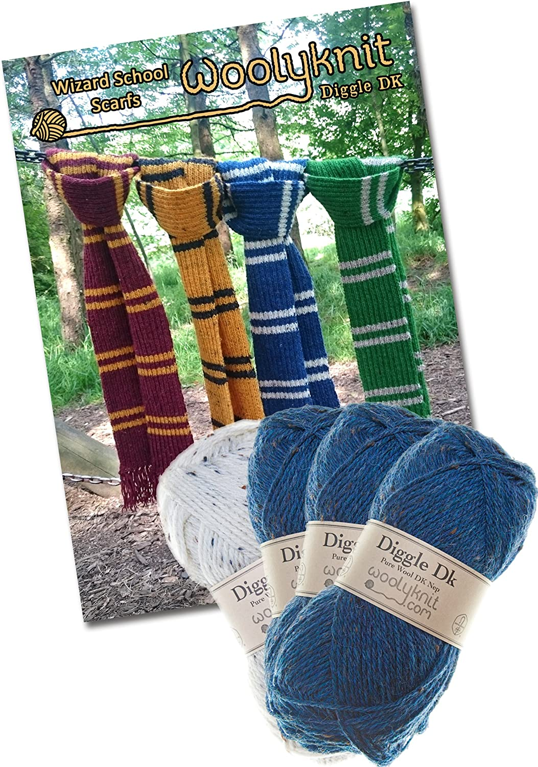 Wizard School Scarf Knitting Bundle Pack. Wool and Knitting Pattern Provided! (Blue)