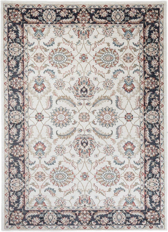 Tapiso Dubai Tapis de Salon Chambre Classique Orientale Couleur Blanc D/écoration Florale 80 x 150 cm