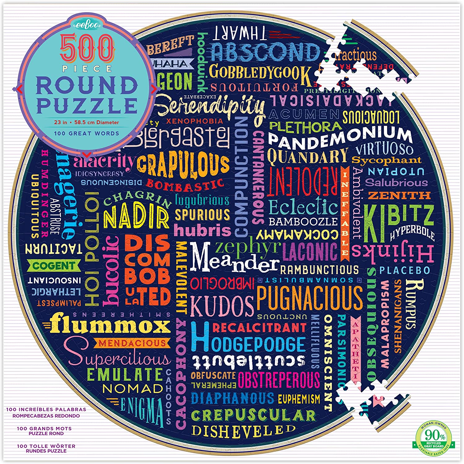 eeBoo Great Words Round Jigsaw Puzzle for Adults and Kids, 500 Pieces
