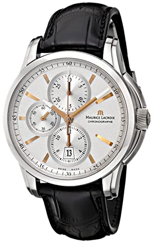 Maurice Lacroix Men s PT6188-SS001-131 Pontos Stainless Steel Automatic Watch with Black Leather Band