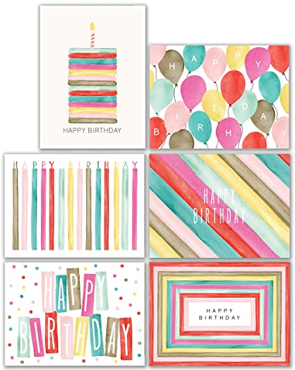 Watercolor Bulk Birthday Cards Multipack Assortment 48pc Happy Card With Envelopes Box Set