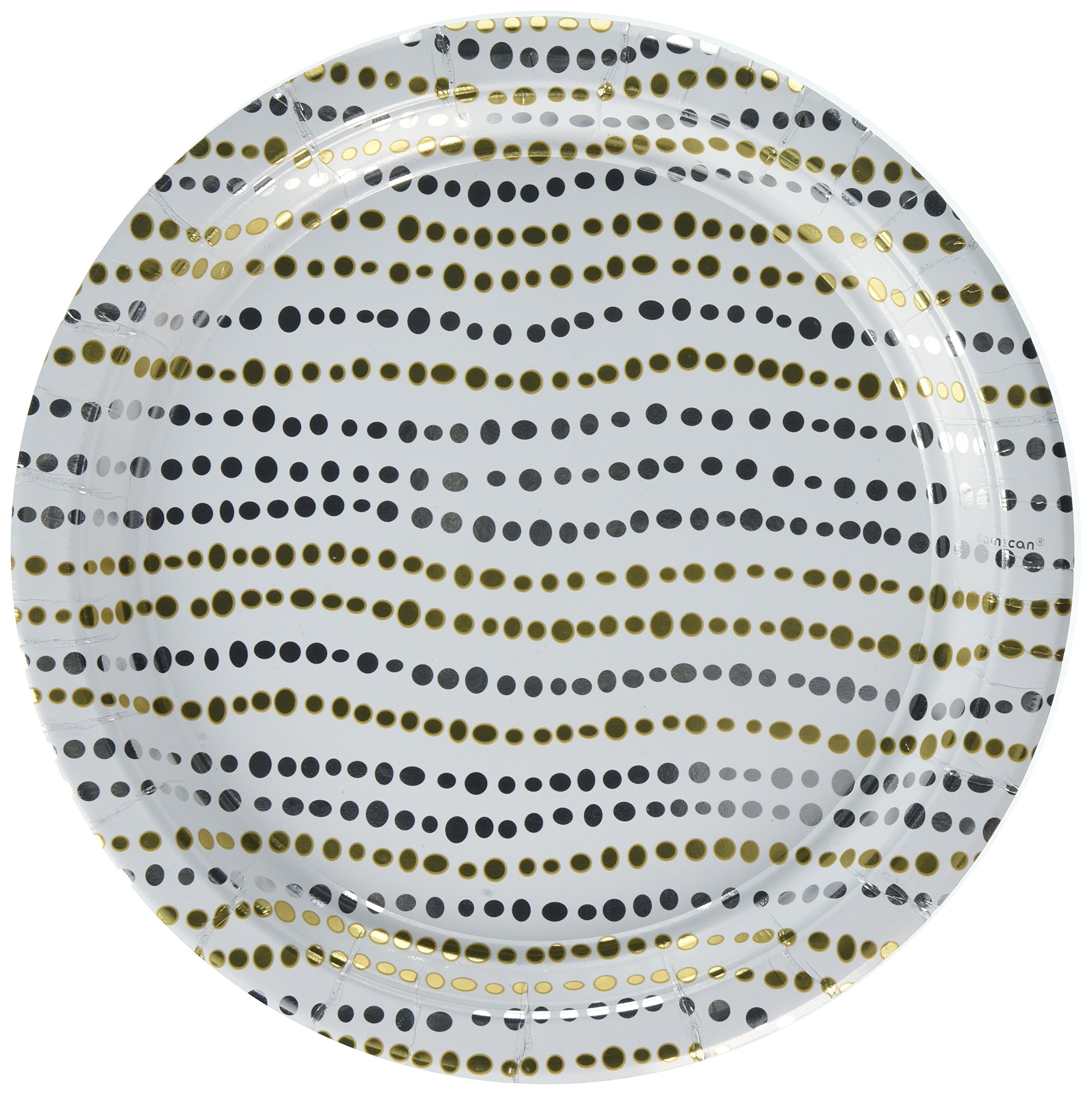 Amscan Disposable Party Round Dinner Plates Tableware, Metallic, Paper, 10'', Pack of 8 Others Supplies , 96 Pieces by Amscan
