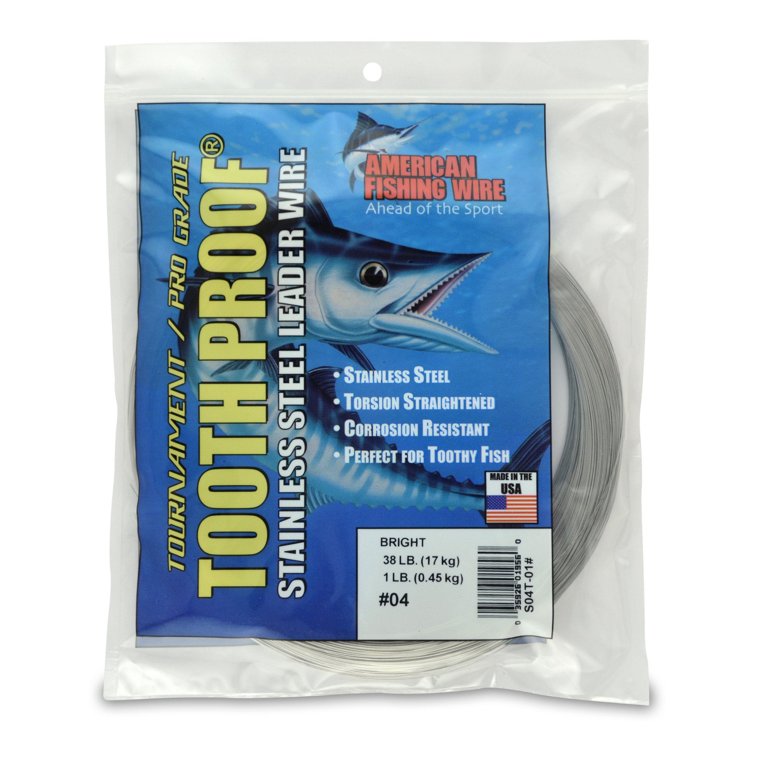 American Fishing Wire Tooth Proof Stainless Steel Single Strand Leader Wire, Size 4, Bright Color, 38 Pound Test, 1 Pound Coil