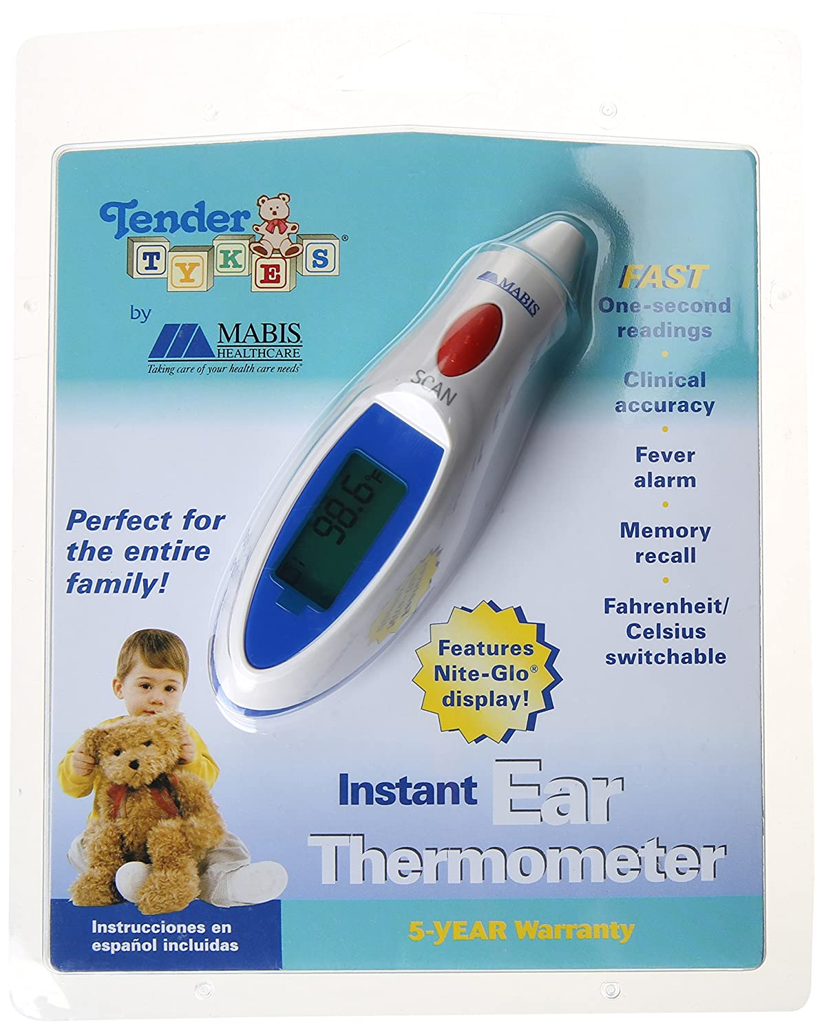 Amazon.com: Mabis Healthcare TenderTYKES Instant Ear Thermometer ...