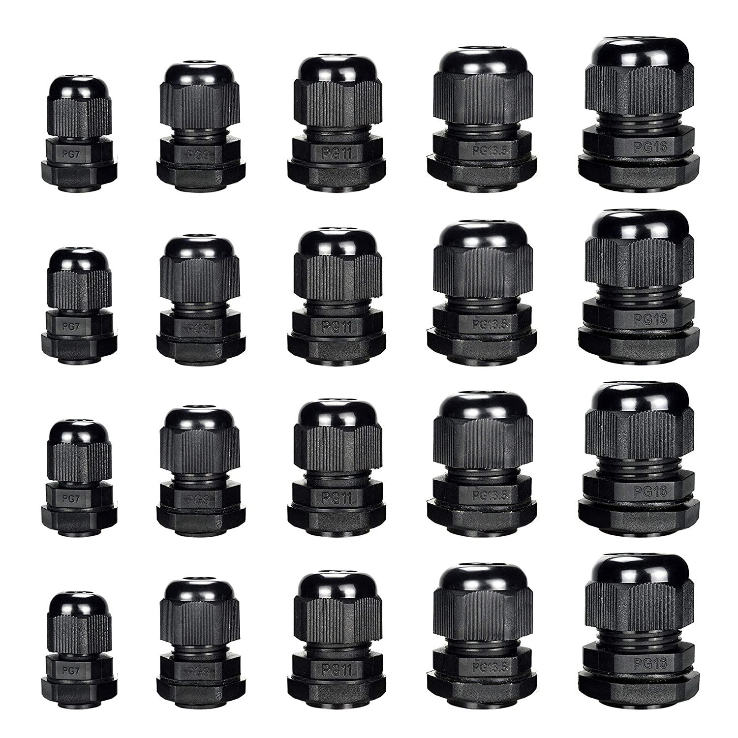 Cable Gland Plastic Waterproof Cable Connector Adjustable 0.12 to 0.55 inch Cable PG7 PG9 PG11 PG13.5 PG16 Pack of 20 by MoArmor