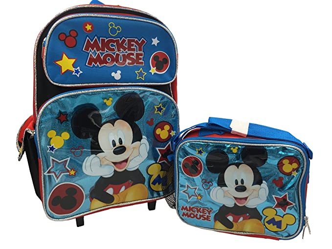 2b6d2955042 Image Unavailable. Image not available for. Colour  Disney Mickey Mouse  Blue 16 quot  Large Rolling Backpack ...