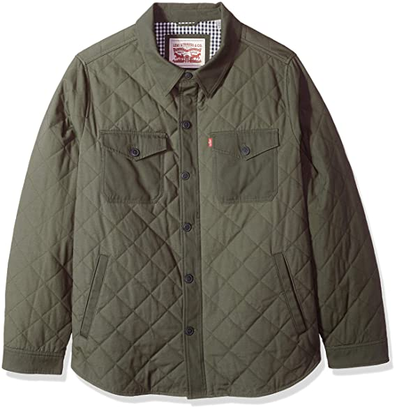 Levis Mens Big And Tall Stretch Cotton Diamond Quilted Shirt Jacket