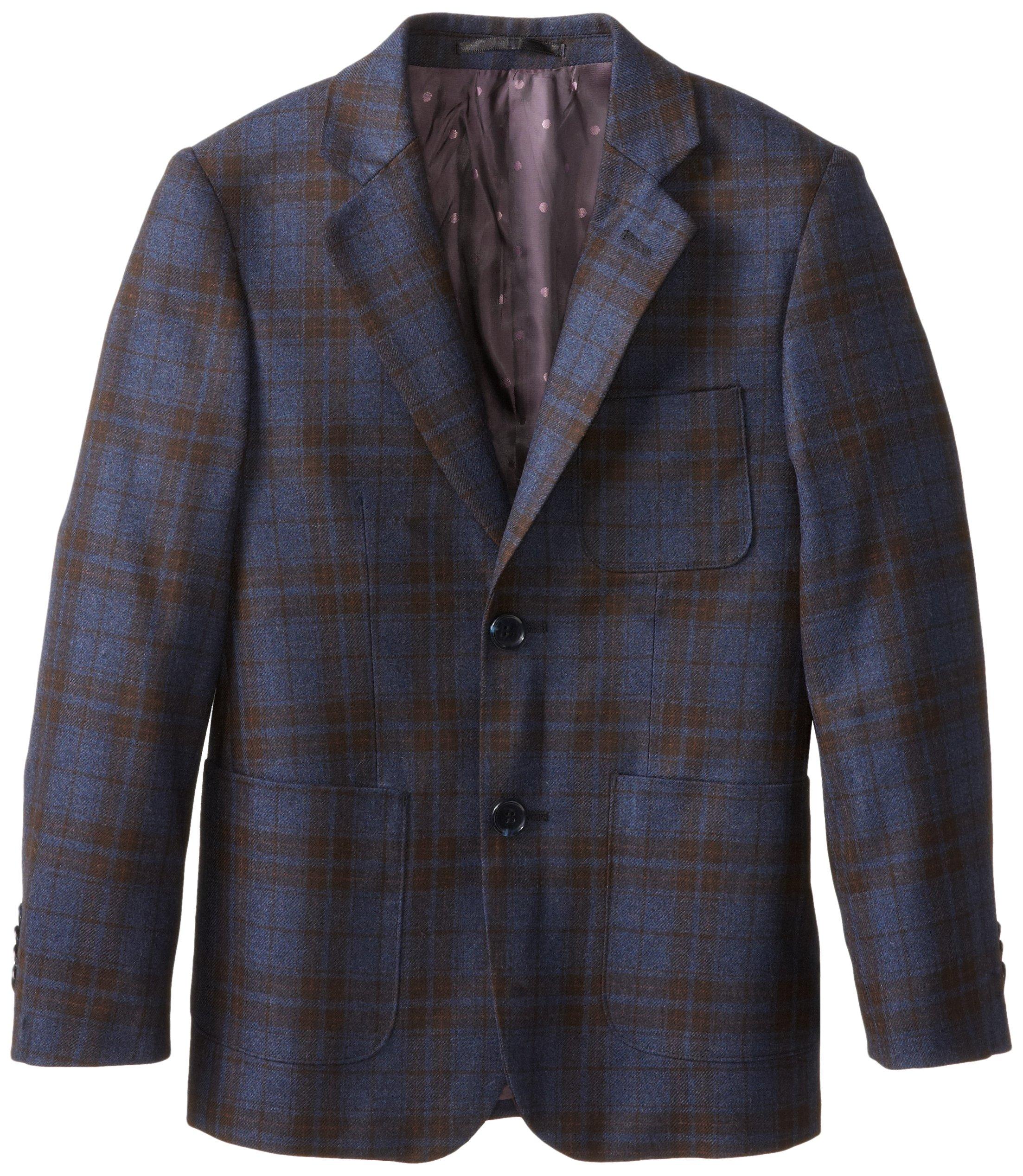 Isaac Mizrahi Black Label Big Boys' Pure Wool Large Plaid Blazer, Blue, 8 by Isaac Mizrahi