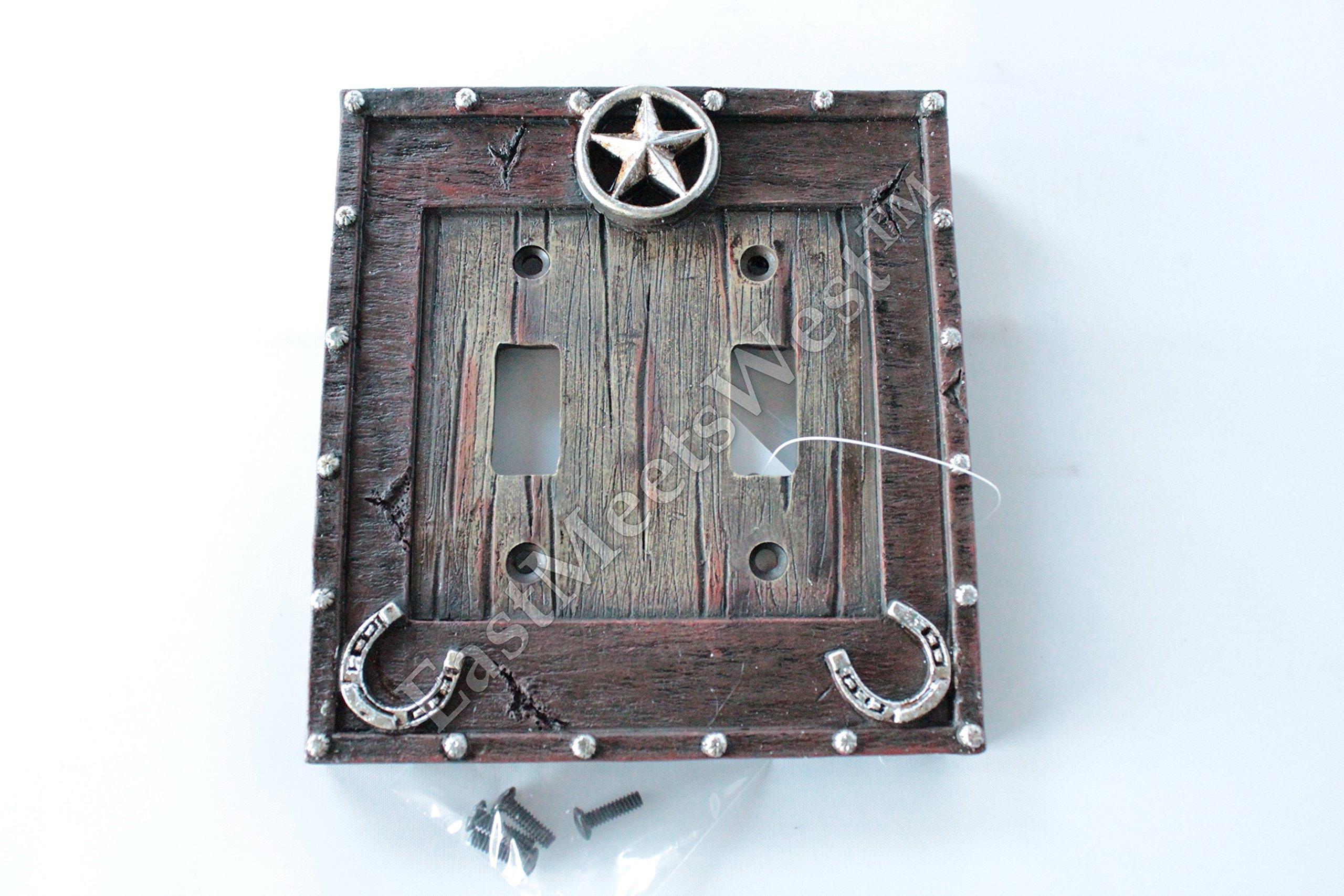 Western Cowboy Rustic Star Horseshoe Switch Plate Covers Electric Rustic Wood Look Western Decor (Double Switch)