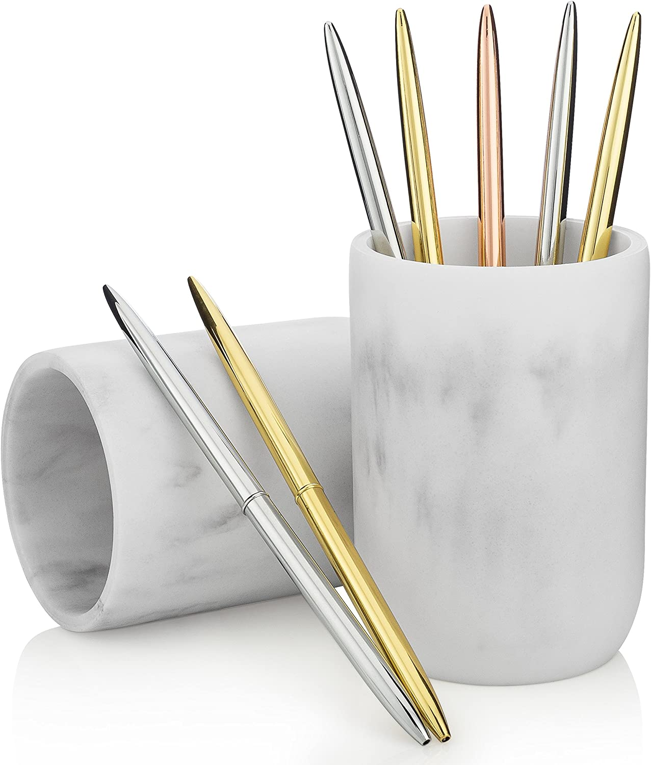 Essentra Home Blanc Collection White Bathroom Tumbler Cup For Vanity Countertops Also Great As Pencil Pen Holder And Makeup Brush Holder Home Kitchen